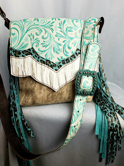 Turquoise Floral Leopard Crossbody Bag
