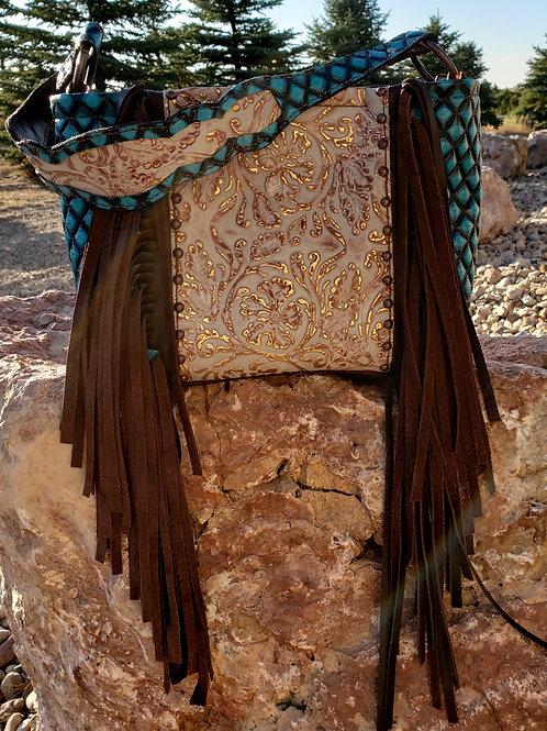 Blue Diamond and Floral Shoulder Bag
