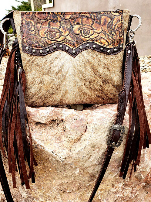Rose and Brindle Cowhide Desert Style crossbody bag