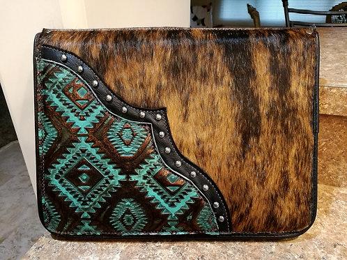 Turquoise Aztec and Brindle Cowhide Portfolio