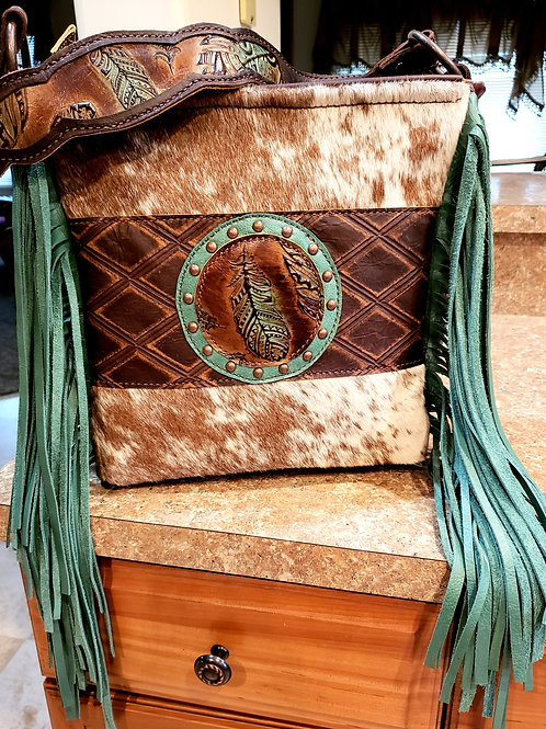 Feather and Cowhide Shoulder Bag