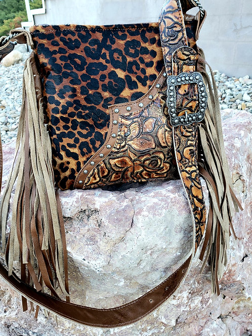 Wild Leopard and Roses Crossbody Bag