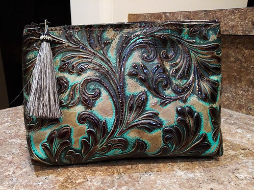 Turquoise Floral Freestanding Cosmetic Bag