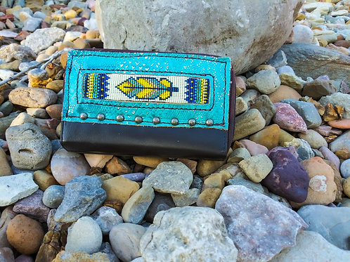 Yellow Feather Beaded Organizer Wallet