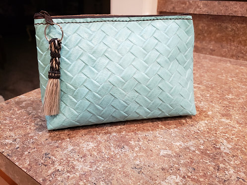 Turquoise Woven Leather Freestanding Cosmetic Bag