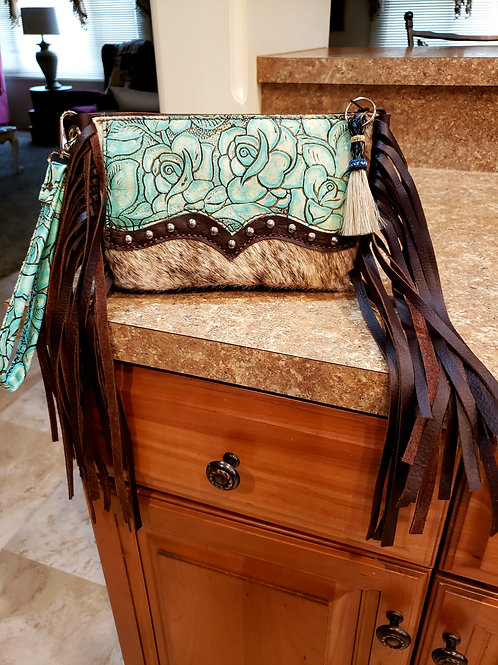 Rose and Cowhide Wristlet Clutch with a Wallet Interior