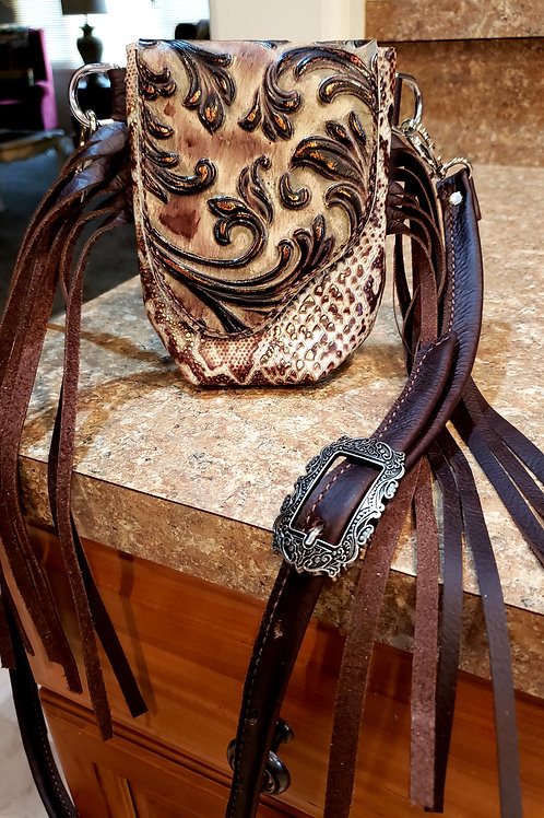 Floral and Snakeskin Stadium Approved Crossbody Bag