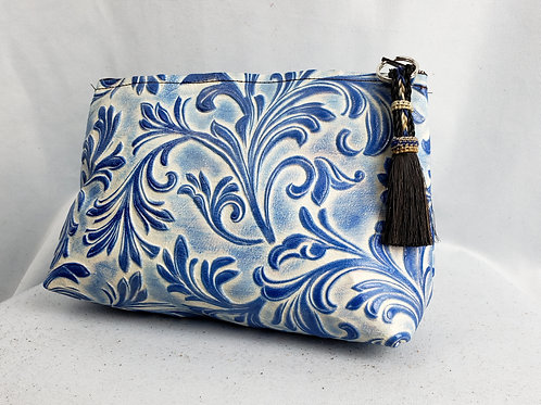 Blue Floral Freestanding Cosmetic Bag