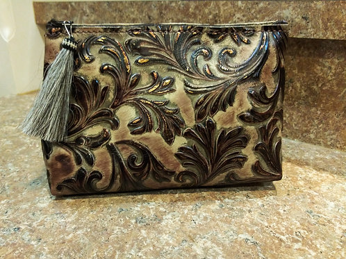 Chocolate Floral Freestanding Cosmetic Bag