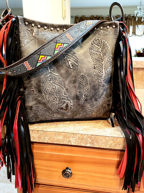 Tipi and Feather Beaded Shoulder Bag