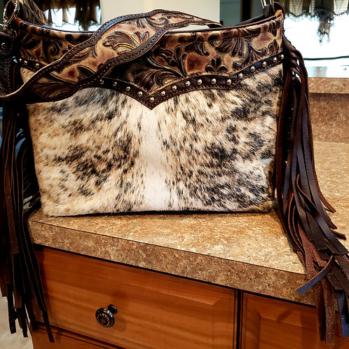 Valentina Swirl Leather and Cowhide Shoulder  Bag