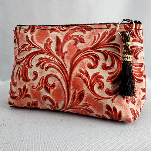 Red Floral Freestanding Cosmetic Bag