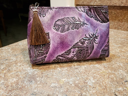 Purple Feather Freestanding Cosmetic Bag