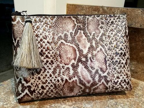 Cream Python Cosmetic Bag