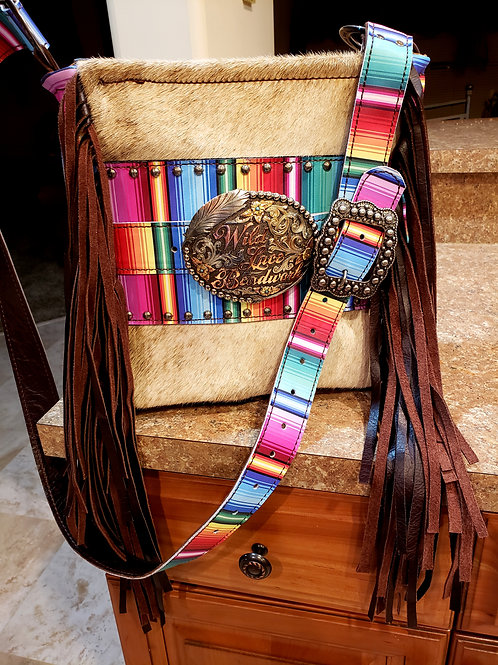 Interchangeable Trophy Buckle Serape Crossbody  Bag