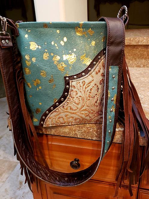 Turquoise Gold Acid Wash Crossbody Bag