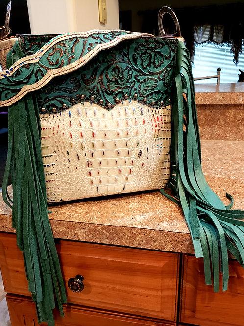 Turquoise Floral Acid Wash Croc Shoulder Bag