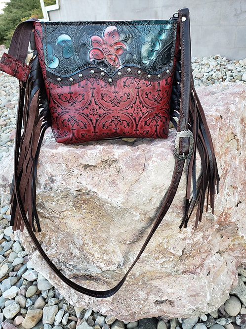 Red and Blue Floral Desert Style crossbody bag
