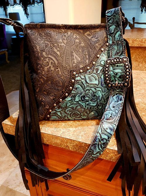 Blue Rose and Grey Paisley Crossbody Bag