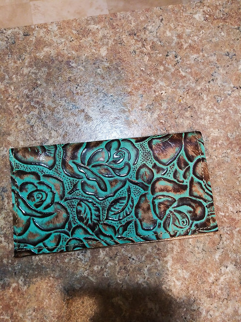 Turquoise Roses Check Book Cover