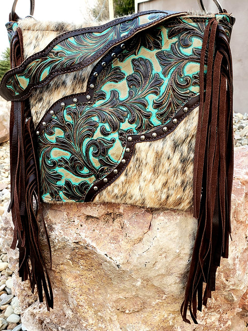 Turquoise Floral and Cowhide Shoulder Bag