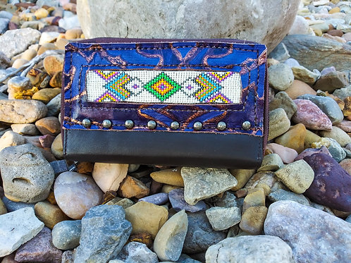 Purple Diamond Beaded Organizer Wallet