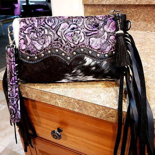 Purple Rose Wristlet Clutch with a Wallet Interior