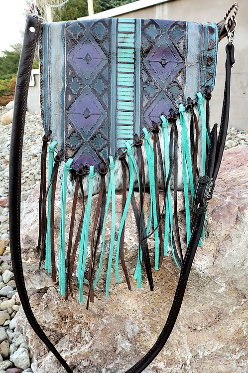 Purple and Turquoise Flap Crossbody Bag