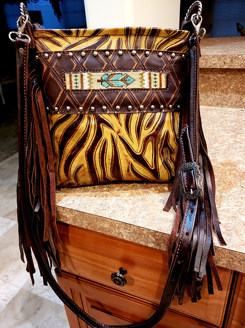 Turquoise Feather and Tiger Stripe Crossbody Bag