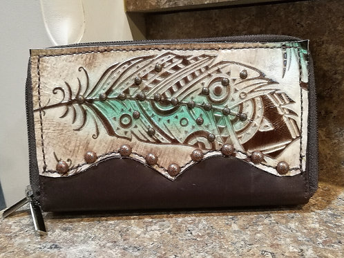 Preorder Turquoise Feather Organizer Wallet. Ships in one week.