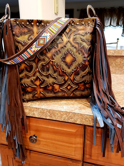 Serape Aztec Beaded Shoulder Bag