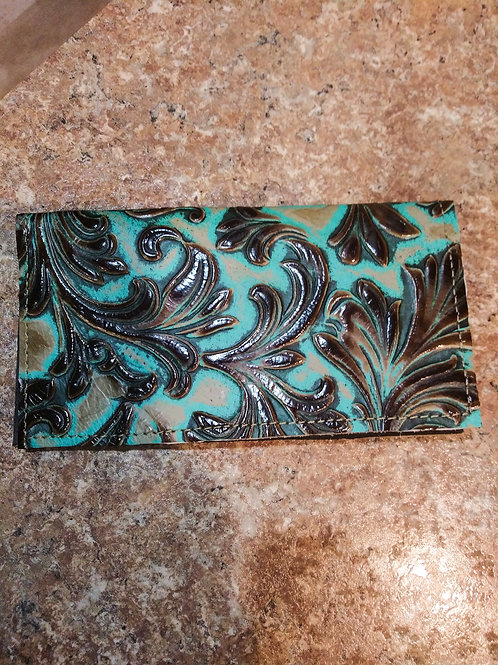 Turquoise Floral Check Book Cover