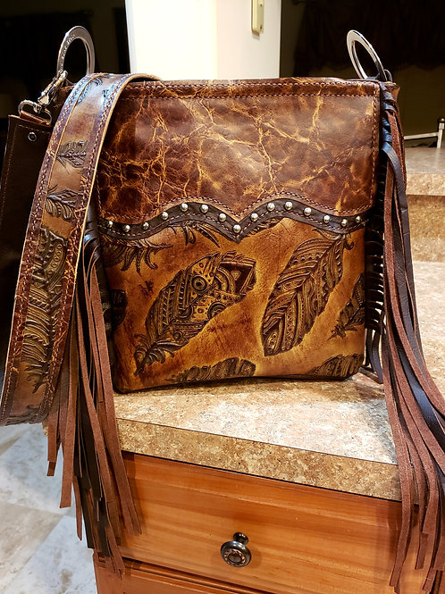 Distressed Feather Crossbody Bag