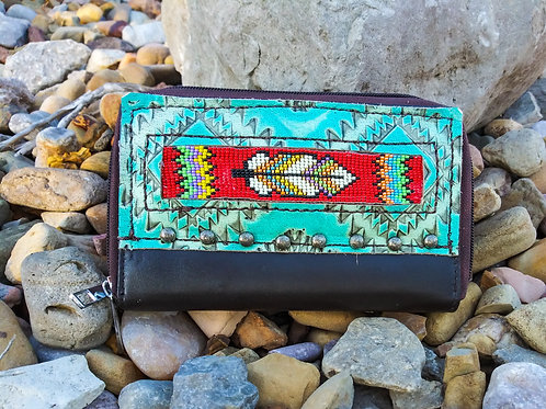 Red Feather Beaded Organizer Wallet