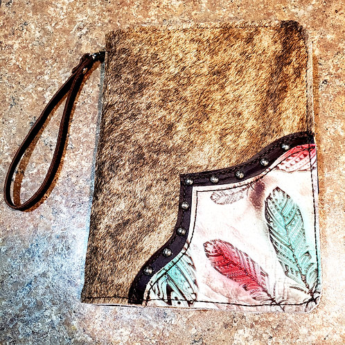 Red and Turquoise Feather Jr. Portfolio Wallet
