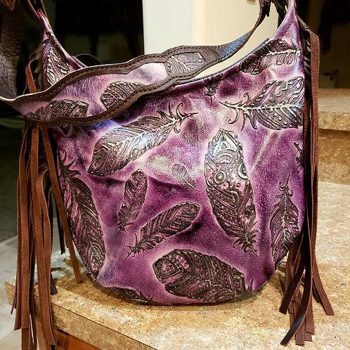 Purple Feather Hobo Bag