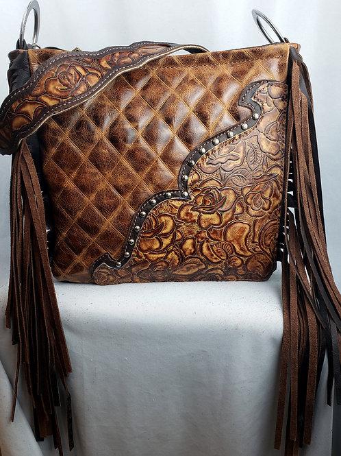 Rustic Diamond and Rose Shoulder Bag