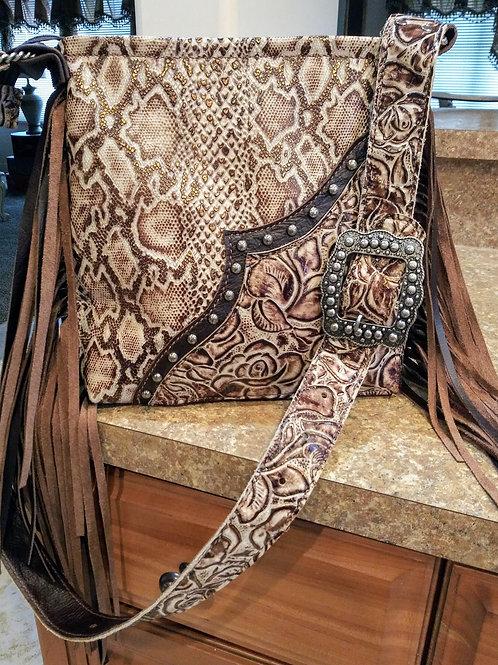 Snakeskin and Roses Crossbody Bag
