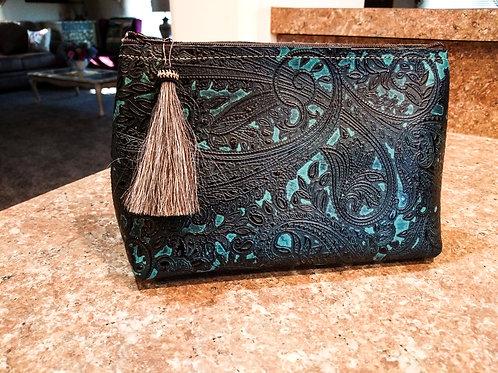 Teal Paisley Freestanding Cosmetic Bag