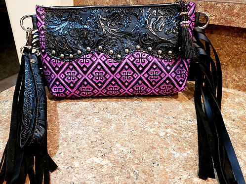 Magenta Aztec Wristlet Clutch with a Wallet Interior