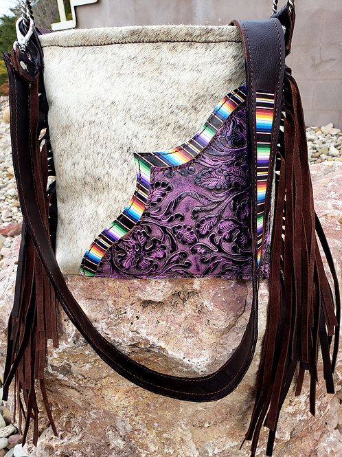 Purple Floral Serape Crossbody Bag