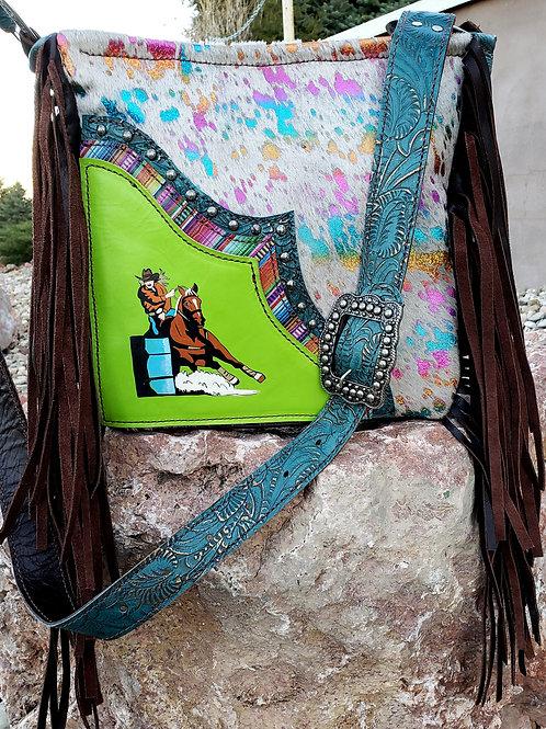 Barrel Racer and Rainbow Acid Wash Crossbody  Bag