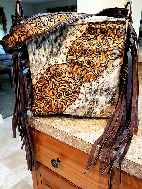 Rose and Cowhide Shoulder Bag