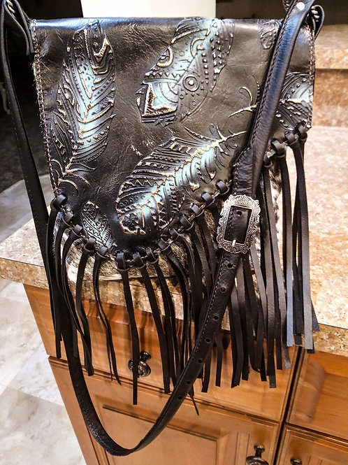 Black and Turquoise Feather Crossbody Bag