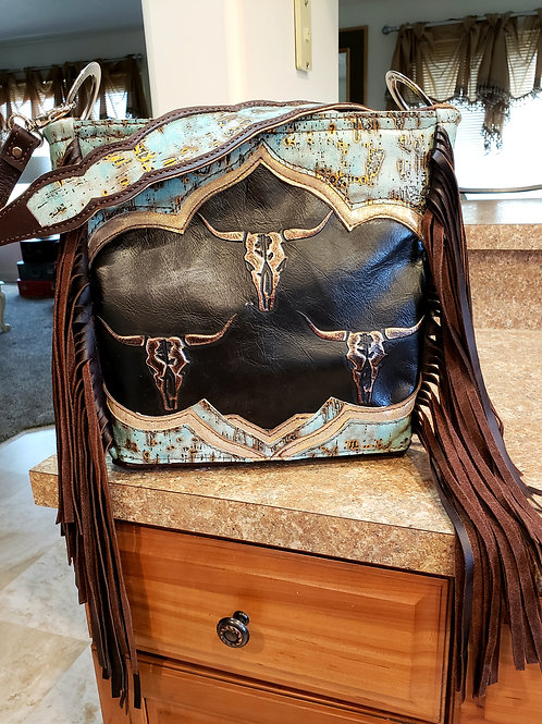 Steerhead and Turquoise Shoulder Bag