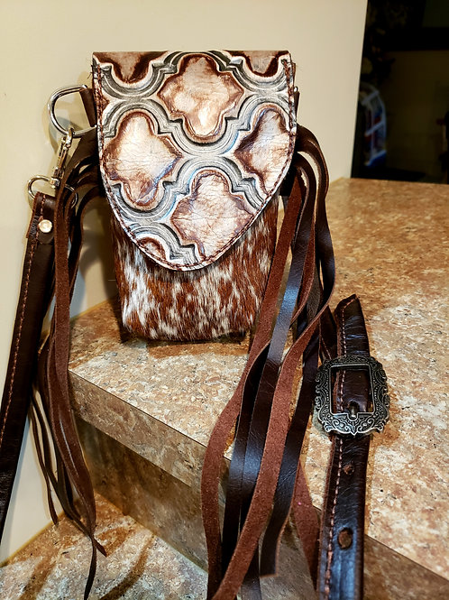 Tile Leather and Cowhide Stadium Approved Crossbody Bag