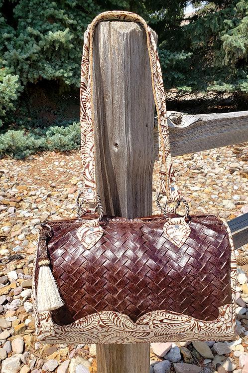 Woven Floral Barrel Shoulder Bag