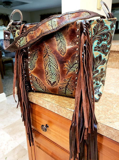 Turquoise Feather Shoulder  Bag