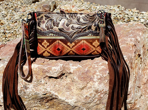 Red Aztec Wristlet Clutch with a Wallet Interior