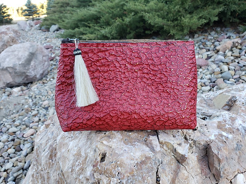 Red Mineral Freestanding Cosmetic Bag